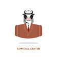 Cow call Center Bull with headset Farm animal vector image