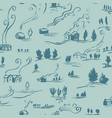 hand drawn seamless pattern winter landscape with vector image