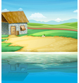 A house near the river vector image