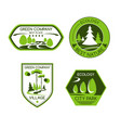 green nature ecology company icons set vector image vector image