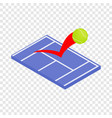 flying tennis ball on a blue court isometric icon vector image