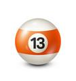 billiardorange pool ball with number 13snooker vector image