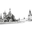 Moscow Saint Basils Cathedral drawing vector image
