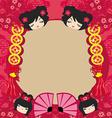 Kokeshi dolls cartoon character beautiful vector image vector image