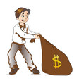 boy pulling a sack of money vector image