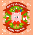 christmas and new year background card with pig vector image