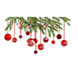 christmas tree and red balls banner vector image