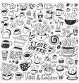 coffee cups doodles set vector image