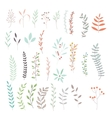Collection set of floral leaves and flowers doodle vector image
