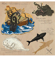 Pirates - Sea Monsters Hand drawn and Mixed media vector image