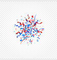 red and blue color scattered confetti and ribbons vector image