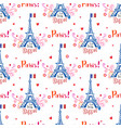 seamless pattern with eiffel tower and ornaments vector image