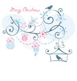 Christmas background - birds on branch christm vector image vector image