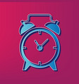 alarm clock sign  blue 3d printed icon on vector image