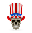 Human skull with uncle sam hat on vector image vector image