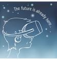 Boy wearing a virtual reality headset vector image