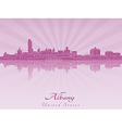 Albany skyline in radiant orchid vector image