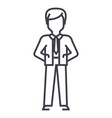 businessman with hands back line icon sign vector image