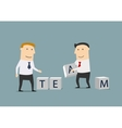 Businessmen creating from cubes the word Team vector image