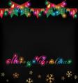 christmas light flag and snowflake vector image