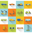 collection of transport icons with long shadow vector image
