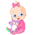 Cute baby girl with Teddy Bear vector image