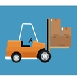 forklift truck cardboard boxes delivery concept vector image