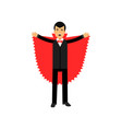 Vampire character posing with red cape count vector image