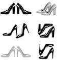 Set of icons of women shoes vector image vector image