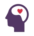 purple silhouette head and human brain with heart vector image