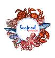 seafood restaurant poster sketch design vector image vector image