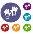 gloves of goalkeeper icons set vector image vector image