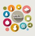 vintage christmas card with various seasonal vector image