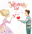 romantic watercolor greeting card with a cute vector image vector image