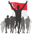 Athlete with the Singapore flag at the finish vector image vector image