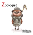 Alphabet professions Owl Letter Z - Zoologist vector image