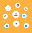 flat icons sausage greenback horse and other vector image