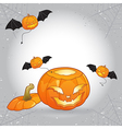 Open head Halloween pumpkin with flying evils vector image