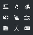 set of video blogger icons vector image