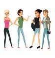 group people female talking vector image