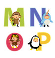 english alphabet with kids in animal costume m-p vector image