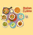 italian cuisine lunch menu with dessert icon vector image