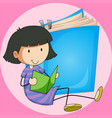 girl reading book with big book background vector image vector image