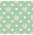 Tile pattern with cupcake and hearts on mint green vector image