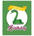 balloon snake ribbon happy birthday card green vector image