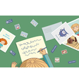Blonde girl writes a letter vector image