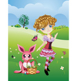 Easter Bunny and Girl vector image