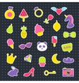 Fashion patch badges with heart ice-cream panda vector image
