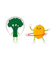 flat fruit sportive characters set isolated vector image