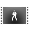 flat paper cut style icon of an old key vector image